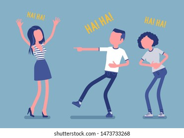 Friends joking and laughing. Happy girls and young boy enjoy together funny friendly jokes, enjoyment, amusement, deep hearty belly laugh with positive humor. Vector illustration, faceless characters