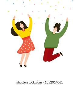 Friends jumping joy together. Feelings of lightness, happiness, freedom, carefree, joy, love, friendship. Cartoon illustration for various design