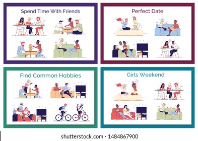 Friends leisure flat vector concept illustrations pack. Perfect date. romantic couples having fun. Boys, roommates finding common hobbies isolated cartoon design elements set on white background