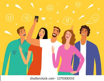 Friends making group portrait and laughing. Cartoon portraits. Selfie and fun illustration for your design.