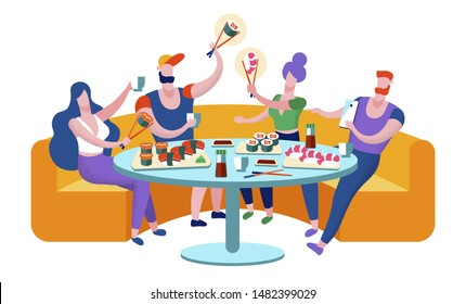 Friends Meeting in Sushi Bar. Company of Young People Having Meal in Modern Japanese Restaurant, Communicating, Chatting, Spending Leisure Time Together on Weekend. Cartoon Flat Vector Illustration