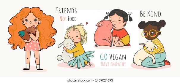 Friends not food. Be kind go vegan. Cruelty free logo. Vegan concept. Cute little girls with various animals. Set of hand drawn vector colored trendy illustrations. Flat design. Everything is isolated