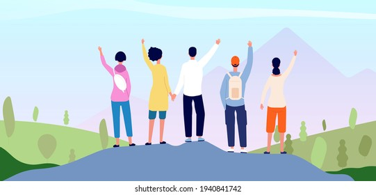 Friends on mountain. People group together, adventure travel team looking at sunrise. Positive hike man girl back view utter vector concept