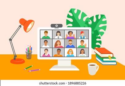 Freunde von Online-Videokonferenzen per Computer. Junge Leute chatten miteinander virtuell in der Video-Call-App. Flache Cartoon-Illustration. Arbeiten Sie zu Hause und bleiben Sie während der Quarantäne mit Ihrem Team in Verbindung
