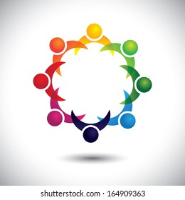 friends & other people partying together - entertainment concept vector. This abstract graphic also represents support group meeting, students learning, community unity, management strategy & planning