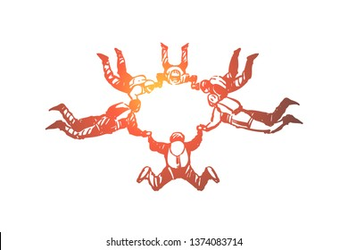 Friends parachuting, people in freefall holding hands, ring formation, exciting hobby, extreme lifestyle, thrill chase. Skydiving group, active leisure, concept sketch. Hand drawn vector illustration
