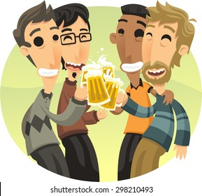 Friends at party Celebrating and Drinking Beer, vector illustration cartoon.