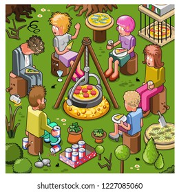 Friends at pizza party sitting around a camp fire in a forest preparing a salami pizza (vector cartoon)