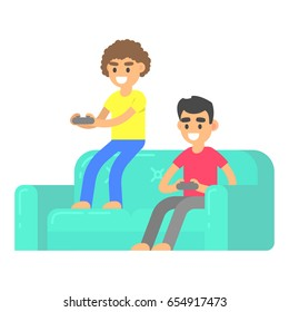 Friends play video game on couch