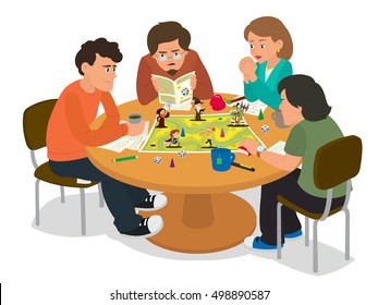 friends playing a board game. a group of friends to spend time together. vector illustration.  fantastic turn-based board game. Friends having fun at the weekend of a new board game.