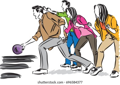 friends playing bowling vector illustration