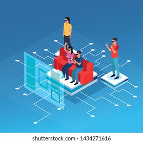 Friends playing with virtual reality glasses and gameapads on screen hologram seated in coach on blue technology background vector illustration graphic design