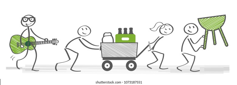 Friends prepare for barbecue party. Vector illustration with stick figures