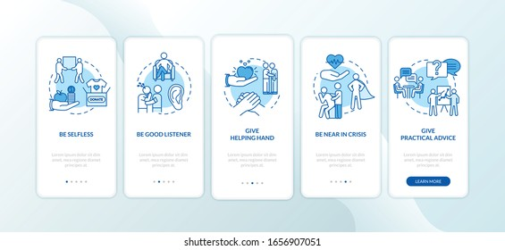 Friends relationship onboarding mobile app page screen with concepts. Be good listener, give advice walkthrough 5 steps graphic instructions. UI vector template with RGB color illustrations