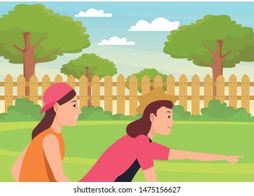 Friends riding in bicycle and pulling skateboard cartoon in the park outdoors scenery ,vector illustration graphic design.