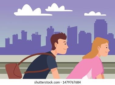 Friends riding bikes and bag cartoon in the city urban scenery background ,vector illustration graphic design.