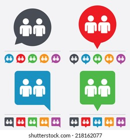 Friends sign icon. Social media symbol. Speech bubbles information icons. 24 colored buttons. Vector