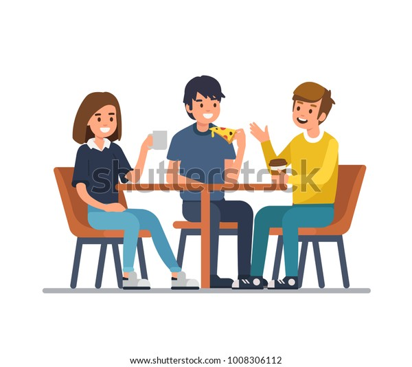 Friends Sit Cafe Drink Coffee Eat Stock Vector (Royalty ...