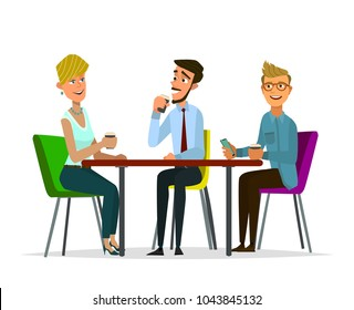Friends sit in cafe, drink coffee.Vector illustration in cartoon style.