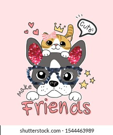 friends slogan with cartoon dog and cat with glitter sequins illustration