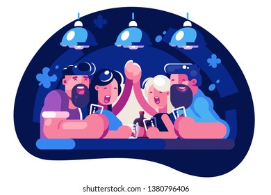 Friends spending time in bar vector illustration. Men and women sitting together and drinking beverages in taproom flat style design. Funny friendship concept