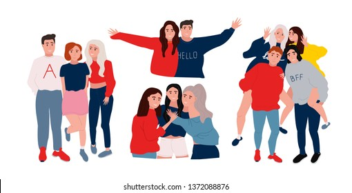 Friends spending time together. Friendship concept. People having a fun. Vector illustration in flat cartoon style