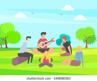 Friends spending time vector, summer vacation together in park camping near campfire, people playing guitar outdoor activity, happy weekend with friend, summertime by bonfire