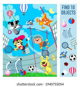 Friends at the stadium. Sport games. Find 10 objects in the picture. Vector illustration, full color.