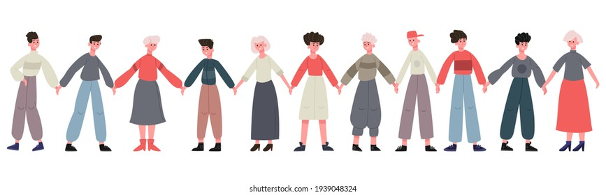 Friends standing together. Group of happy friends holding hands, happiness and friendship. Smiling people stand in row together vector illustration set