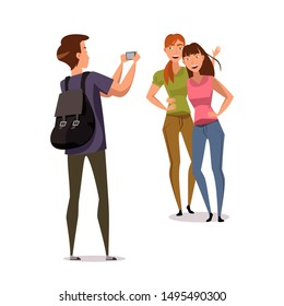 Friends taking photo flat vector characters. Girlfriends hugging and posing, tourist photographing on smartphone isolated clipart on white background. Cheerful sisters laughing design element