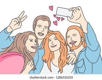 Friends are taking pictures on their cell phones. Hand drawn style vector doodle design illustrations