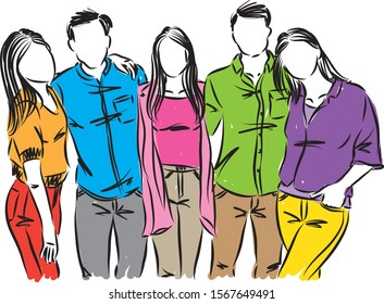 friends teenagers people vector illustration
