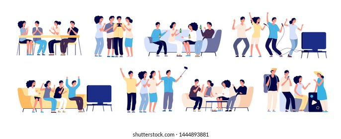 Friends together. Friendship between people. Smiling best friends spending time relaxing and talking. Flat vector characters isolated on white