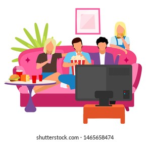 Friends together watching movie flat illustration. Guys and girls spending time, evening at home with TV cartoon characters. Students watch film. Best friends company sitting on sofa, eating snacks
