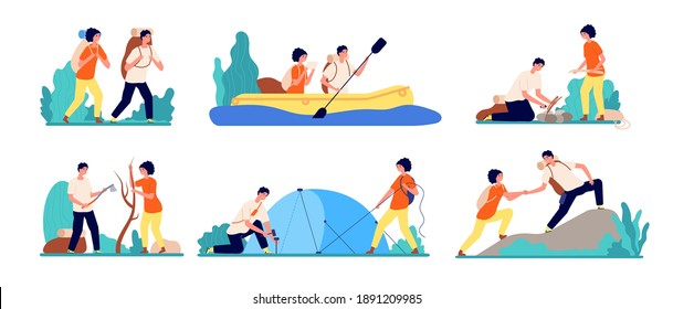 Friends travel adventures. Hiking tourist, man boating on river travelling. Adults journey camping, couple on peak mountain utter vector set