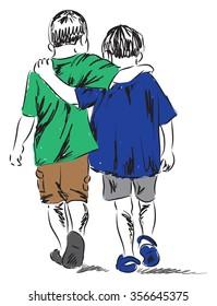 friends two boys walking together illustration