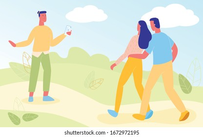 Friends Walking in City Park, Man Taking Photo of Loving Couple, Hugging Each Other. Outdoors, Summer Time Leisure, Vacation, Holidays Spare Time, Romantic Relations. Cartoon Flat Vector Illustration