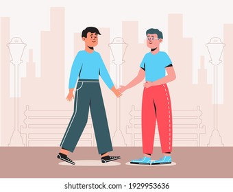Friends are walking and talking. Employee, worker, officer, staff member, staffer concept vector. Happy friends met in the city. A date in the park. The guy meets and smiles at the man.