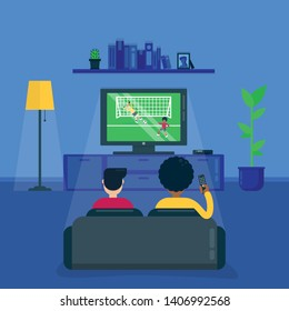 Friends watch football game, championship together sitting on sofa in the evening. Flat style illustration.