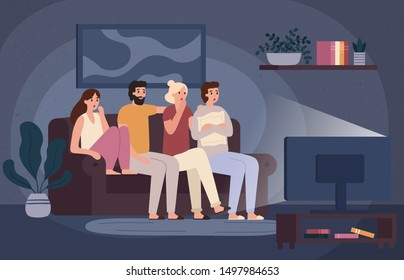 Friends watching horror movie together. Scared teens sitting on sofa and watch scary movie in dark living room. Fear face characters, young people watching film and afraid vector illustration