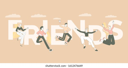 Friends word concept banner template. Togetherness and community concept, friendship day celebration poster design. Joyful young people, cheerful men and women jumping in air vector illustration