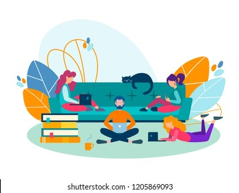 Friends young people study, get education, prepare for a session at the school, University, work together. Vector illustration.