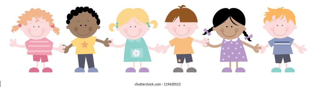 Friends-Cute kids holding hands.  Multi cultural children together- Friends standing in a row, smiling and holding hands. Each cute character is grouped so easy to edit.