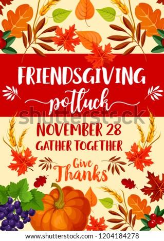 friendsgiving potluck dinner thanksgiving holiday symbols stock
