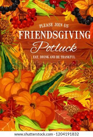 friendsgiving potluck feast invitation poster thanksgiving stock