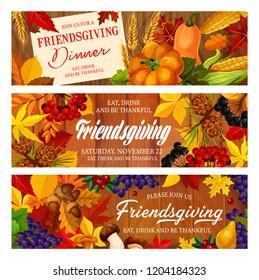 Friendsgiving potluck, Thanksgiving dinner. Autumn fallen leaves, harvest pumpkin vegetable and fruit, maple foliage, acorn and mushroom on wooden background, Thanksgiving Day vector design