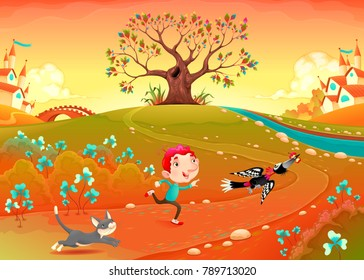 Friendship between a boy, woodpecker and kitten. Funny cartoon vector illustration for children in a countryside landscape with tree and village.
