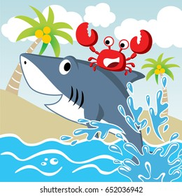 friendship between shark and crab, vector cartoon illustration. Eps 10