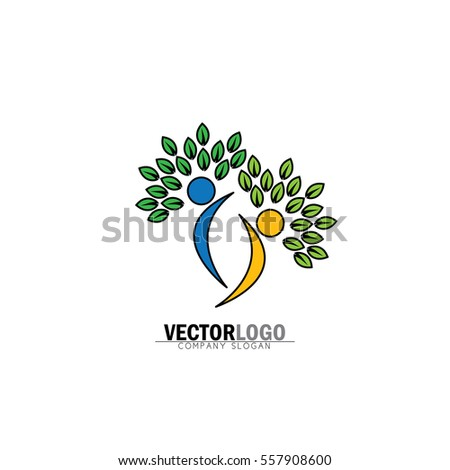 Friendship bonding together organic people logo stock vector friendship bonding together organic people logo people logo tree logo vector maxwellsz