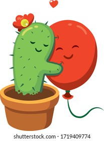 friendship cactus and balloon illustration